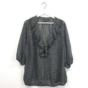 Lane Bryant 18/20 Shirt Ruffled Polka Dot Black